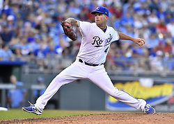 July 15, 2017 - Kansas City, MO, USA - Kansas City Royals starting pitcher Danny Duffy throws in the seventh inning during Saturday's baseball game against the Texas Rangers July 15, 2017 at Kauffman Stadium in Kansas City, Mo. The Rangers won, 1-0. (Credit Image: © John Sleezer/TNS via ZUMA Wire)