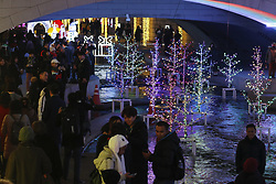December 18, 2018 - Seoul, SOUTH KOREA - Dec 18, 2018-Seoul, South Korea-Visitors enjoy with takes pictures in front of decorations on display to celebrate Christmas and New Year over the Cheonggye Stream in Seoul, South Korea. (Credit Image: © Ryu Seung-Il/ZUMA Wire)
