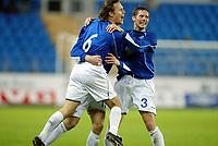 Fotball, 15. oktober 2003, UEFA - cupen, 1 runde, Molde Stadion, Molde-Leiria,  Daniel Berg Hestad og Petter Christian Singsaas, Molde