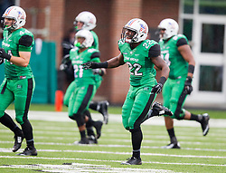 Oct 3, 2015; Huntington, WV, USA; Marshall Thundering Herd linebacker D.J. Hunter (22) celebrates after a fumble recovery during the second quarter against the Old Dominion Monarchs at Joan C. Edwards Stadium. Mandatory Credit: Ben Queen-USA TODAY Sports