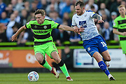 Forest Green Rovers Dayle Grubb(8) and Tranmere Rovers James Norwood(10) during the EFL Sky Bet League 2 second leg Play Off match between Forest Green Rovers and Tranmere Rovers at the New Lawn, Forest Green, United Kingdom on 13 May 2019.
