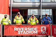 A group of Middlesbrough stewards with thumbs up ready to welcome back a crowd ahead of the EFL Sky Bet Championship match between Middlesbrough and Bournemouth at the Riverside Stadium, Middlesbrough, England on 19 September 2020.
