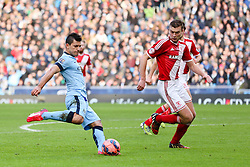 Manchester City's Sergio Aguero attacks - Photo mandatory by-line: Matt McNulty/JMP - Mobile: 07966 386802 - 24/01/2015 - SPORT - Football - Manchester - Etihad Stadium - Manchester City v Middlesbrough - FA Cup Fourth Round
