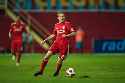 TRABZON, TURKEY - Thursday, August 26, 2010: Liverpool's Lucas Leiva in action against Trabzonspor during the UEFA Europa League Play-Off 2nd Leg match at the Huseyin Avni Aker Stadium. (Pic by: David Rawcliffe/Propaganda)
