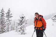 Skiers on a winter ski tour in the San Juan Mountains of SW Colorado near Telluride, Colorado.