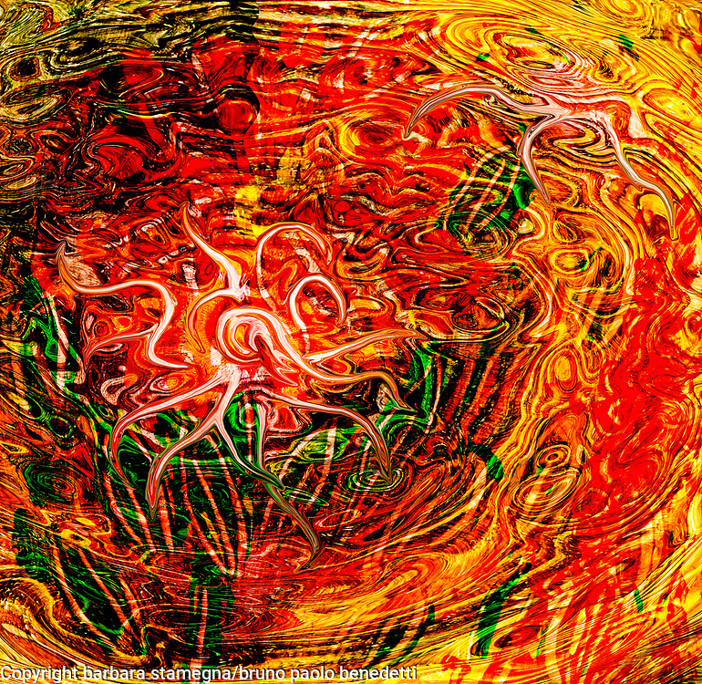rising fluid energy like abstract dynamic art image with central white curving shape in dominant red and yellow tones