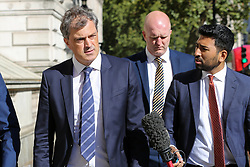 © Licensed to London News Pictures. 17/09/2019. London, UK. Reporters speaking with Secretary of State for Northern Ireland JULIAN SMITH (L) as he departs from Downing Street after attending the weekly Cabinet Meeting. Photo credit: Dinendra Haria/LNP