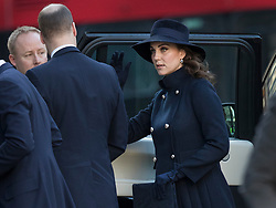 © Licensed to London News Pictures. 14/12/2017. London, UK. The Duchess of Cambridge arrives at St Paul's Cathedral for the Grenfell Tower National Memorial Service mark the six month anniversary of the Grenfell Tower fire. The service is attended by survivors and relatives of those who lost their lives in the fire, as well as members of the emergency services and members of the Royal family. 71 people were killed when a huge fire ripped though 24-storey Grenfell Tower block in west London in June 2017. Photo credit: Peter Macdiarmid/LNP
