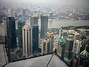 A view of the Pudong skyline; Changhai, China