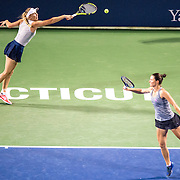 August 22, 2016, New Haven, Connecticut: <br /> Caroline Wozniacki of Denmark and Klaudia Jans-Ignacik of Poland in action during a match a match on Day 4 of the 2016 Connecticut Open at the Yale University Tennis Center on Monday August  22, 2016 in New Haven, Connecticut. <br /> (Photo by Billie Weiss/Connecticut Open)