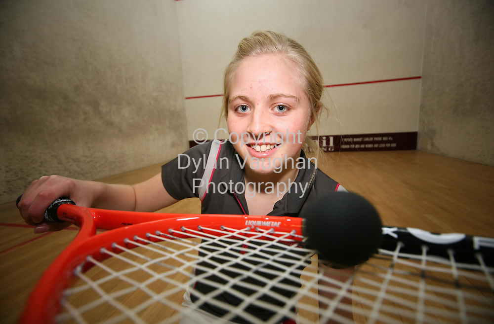 1/11/2006.Roisin Brennan from Carlow pictured at the squash court at Carlow Tennis Club..Picture Dylan Vaughan.