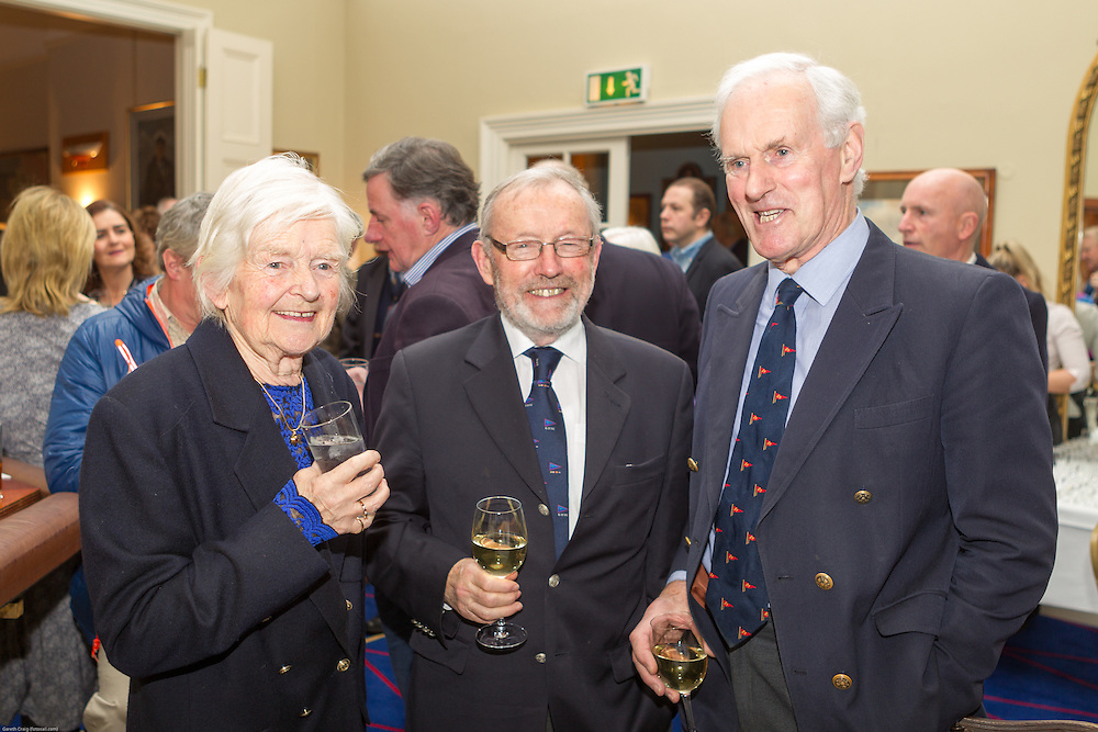 (l to r) Hjordis Goodbody, Gordon Lynch, and Reggie Goodbody at the Classic Dragon Reunion in the Royal St George Yacht Club (Dún Laoghaire) where a large number of current and classic Dragon sailors gathered to celebrate the long (and continued) success of the class.
