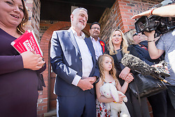 &copy; Licensed to London News Pictures. 22/04/2017. WARRINGTON , UK.  <br /> <br /> Labour Party leader JEREMY CORBYN visiting Warrington today (SATURDAY 22/4/17) as part of the Labour Party's general election campaign. He spent time on Hood Lane North talking to Labour activists and members of the public along the street.<br />   <br /> Photo credit: CHRIS BULL/LNP