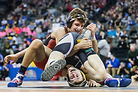 Stapleton's Seth Simants, top, wrestles Ansley/Litchfield's Blake Racicky in their 138-pound quarterfinal match during the first day of Nebraska state wrestling at the CenturyLink Center on Thursday, Feb. 15, 2018, in Omaha.<br /> <br /> MATT DIXON/THE WORLD-HERALD