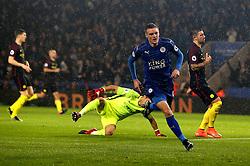 Jamie Vardy of Leicester City celebrates scoring a goal to make it 1-0 - Mandatory by-line: Robbie Stephenson/JMP - 10/12/2016 - FOOTBALL - King Power Stadium - Leicester, England - Leicester City v Manchester City - Premier League