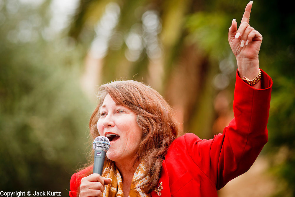 22 OCTOBER 2010 - PHOENIX, AZ:  Tea Party organizer JANET CONTRERAS, a Republican candidate for congress, speaks at a Tea Party rally in Phoenix, Friday. About 300 people attended a Tea Party rally on the lawn of the Arizona State Capitol in Phoenix Friday. They demanded lower taxes, less government spending, repeal of the health care reform bill, and strengthening of the US side of the US - Mexican border. They listened to Arizona politicians and applauded wildly when former Alaska Governor Sarah Palin and her son, Trig, made a surprise appearance. The event was a part of the Tea Party Express bus tour that is crossing the United States.     Photo by Jack Kurtz