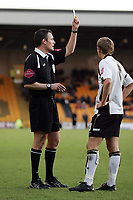 Photo: Paul Thomas.<br /> Port Vale v Bristol City. Coca Cola League 1. 17/12/2005.<br /> <br /> Port Vale's Craig James is booked by referee Mr Deadman for a dangerous tackle.