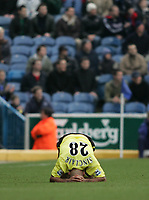 Photo: Lee Earle.<br /> Portsmouth v Manchester City. The Barclays Premiership. 11/03/2006. City's Trevor Sinclair looks dejected as Pompey win.