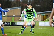 Forest Green's Kieffer Moore on the ball during the Vanarama National League match between Forest Green Rovers and Eastleigh at the New Lawn, Forest Green, United Kingdom on 20 February 2016. Photo by Shane Healey.