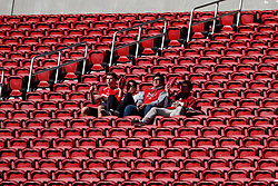 SANTA CLARA, CA - DECEMBER 17: San Francisco 49ers fans sit in an empty section of seats before the game against the Tennessee Titans at Levi's Stadium on December 17, 2017 in Santa Clara, California. The San Francisco 49ers defeated the Tennessee Titans 25-23. (Photo by Jason O. Watson/Getty Images) *** Local Caption ***