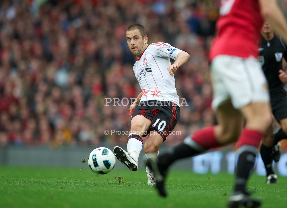 MANCHESTER, ENGLAND - Sunday, September 19, 2010: Liverpool's Joe Cole in action against Manchester United during the Premiership match at Old Trafford. (Photo by David Rawcliffe/Propaganda)
