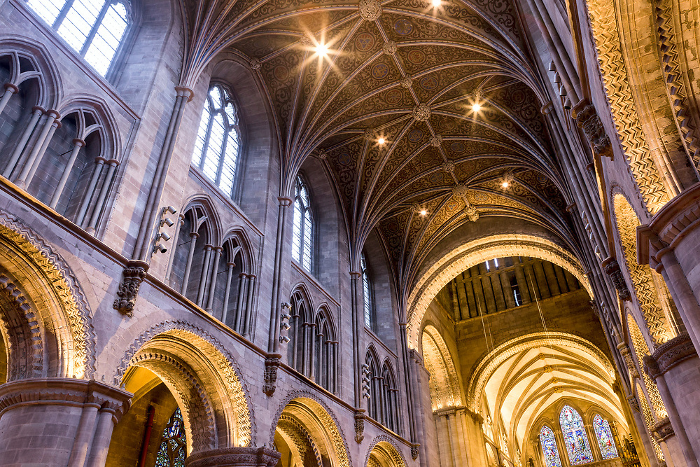 HEREFORD, UK January 03rd 2019 - Vaulted ceiling at Hereford Cathedral, United Kingdom