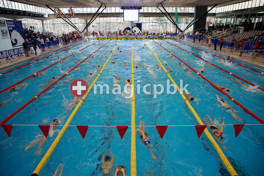 Swimmers warm up during the Swiss Swimming Championships at the Piscine des Vernets in Geneva, Switzerland, Friday, March 15, 2013. (Photo by Patrick B. Kraemer / MAGICPBK)