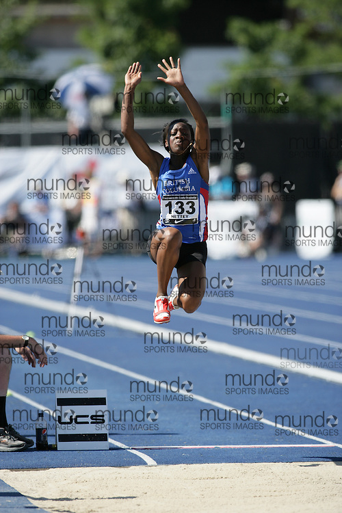 (Toronto, Ontario---27/06/09)   Christabel S. Nettey competing in  long jump final at the 2009 Canadian National Track and field Championships. Photograph copyright Sean Burges / Mundo Sport Images, 2009. www.mundosportimages.com / www.msievents.