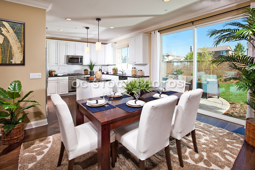 Kitchen And Dining Room Of A Model Home