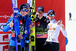 March 23, 2019 - Planica, Slovenia - Team Slovenia celebrating their third place at the Planica FIS Ski Jumping World Cup finals  on March 23, 2019 in Planica, Slovenia. From left: Team Germany, Team Poland and Team Slovenia. (Credit Image: © Rok Rakun/Pacific Press via ZUMA Wire)