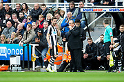Newcastle United manager Rafael Benitez issues instructions to Newcastle United defender Paul Dummett (#3) during the EFL Sky Bet Championship match between Newcastle United and Barnsley at St. James's Park, Newcastle, England on 7 May 2017. Photo by Craig Doyle.