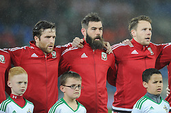 Adam Matthews of Wales. Joe Ledley of Wales and Chris Gunter of Wales - Mandatory by-line: Dougie Allward/JMP - Mobile: 07966 386802 - 24/03/2016 - FOOTBALL - Cardiff City Stadium - Cardiff, Wales - Wales v Northern Ireland - Vauxhall International Friendly