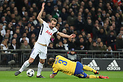 Harry Kane of Tottenham Hotspur (10) calling for a foul by Juventus defender Giorgio Chiellini (3) during the Champions League match between Tottenham Hotspur and Juventus FC at Wembley Stadium, London, England on 7 March 2018. Picture by Matthew Redman.