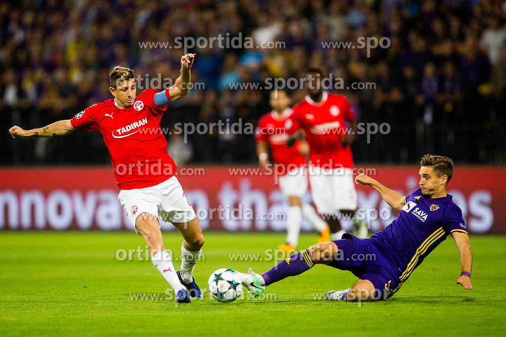 Blaz Vrhovec of NK Maribor and Maor Melikson of Hapoel Beer-Sheva during football match between NK Maribor and Hapoel Beer-Sheva in Second leg of UEFA Champions League playoff round, on August 22 2017 in Ljudski vrt, Maribor, Slovenia. Photo by Ziga Zupan / Sportida