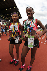 2012 USA Track & Field Olympic Trials: Bantam, 100 meter runners with medals and pins,