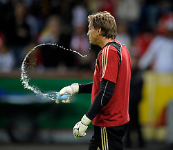 Rene Alder spits out water during the International friedly between Germany and South Africa on the 5th September 2009 at Bay Arena Leverkusen, Germany.