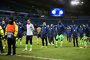FC Schalke 04 players stand and take the feelings of the fans on board  during the Champions League round of 16, leg 2 of 2 match between Manchester City and FC Schalke 04 at the Etihad Stadium, Manchester, England on 12 March 2019.