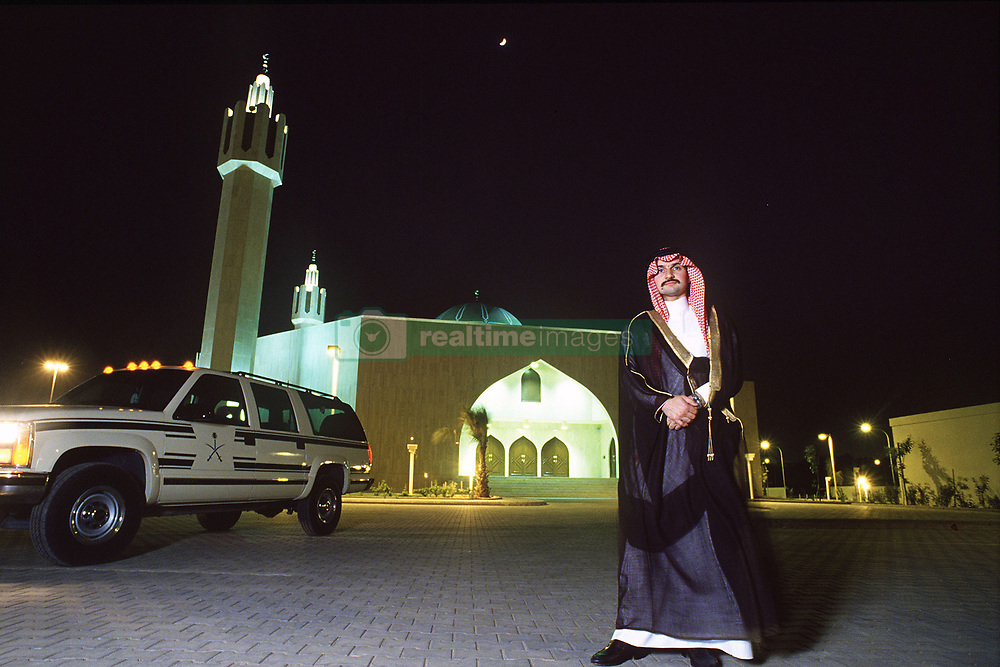 Saudi prince and billionaire Alwaleed bin Talal (or Al Waleed or Al Walid) seen in a file photo dated June 1994 posing next to his mosque in Riyadh, Saudi Arabia. News confirm the Prince was arrested with other members of Royal Family and businessmen in Riyadh on November 4, 2017. Photo by Balkis Press/ABACAPRESS.COM  | 613940_002 Riyadh Arabie Saoudite Saudi Arabia