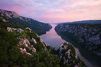 Iron gate, canyon of the Danube river on border between Romania and Serbia, National Park Djerdab, Serbia
