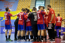 Players of Serbia during handball match between National teams of Serbia and Germany in Main Round of 2018 EHF U20 Men's European Championship, on July 25, 2018 in Arena Zlatorog, Celje, Slovenia. Photo by Urban Urbanc / Sportida