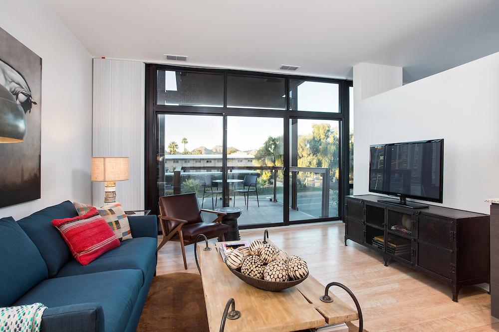 Domus apartments living room photography, Phoenix, Arizona