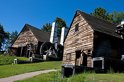 Forge building and Silting Mill building with water wheel at Saugus Iron Works National Historic Site, Saugus, Massachusetts, United States of America