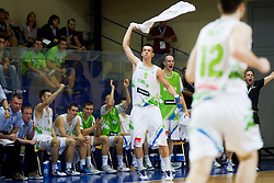 Alen Omic of Slovenia celebrates during basketball match between National teams of Slovenia and Lithuania in First Round of U20 Men European Championship Slovenia 2012, on July 14, 2012 in Domzale, Slovenia. Slovenia defeated Lithuania 87-81. (Photo by Vid Ponikvar / Sportida.com)
