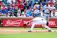 March 29, 2018 - Arlington, TX, U.S. - ARLINGTON, TX - MARCH 29: Texas Rangers first baseman Joey Gallo (13) stretches for the baseball during the game between the Texas Rangers and the Houston Astros on March 29, 2018 at Globe Life Park in Arlington, Texas. Houston defeats Texas 4-1. (Photo by Matthew Pearce/Icon Sportswire) (Credit Image: © Matthew Pearce/Icon SMI via ZUMA Press)