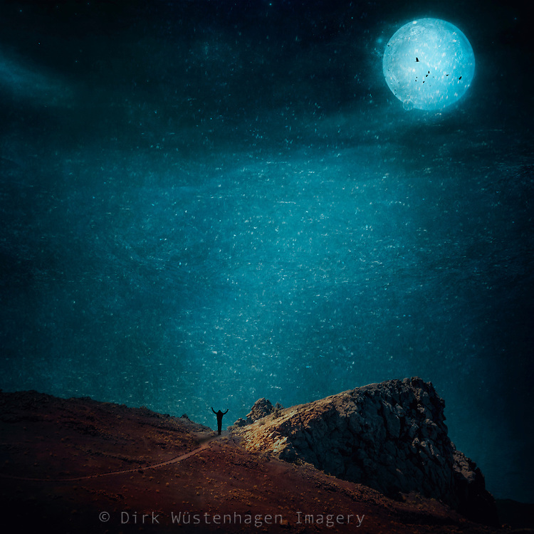 Photomanipulation with a man standing on the edge of a cliff with the full moon shining