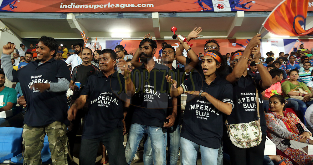 Imperial Blue Fan's enjoy during match 8 of the Indian Super League (ISL) season 3 between FC Goa and FC Pune City held at the Fatorda Stadium in Goa, India on the 8th October 2016.<br /> <br /> Photo by Sandeep Shetty / ISL/ SPORTZPICS