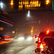 Cars wait to turn onto Highway 22 headed towards Jackson Hole Mountain Resort in Jackson, Wyoming.