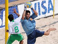 FIFA BEACH SOCCER WORLD CUP 2008 SPAIN - MEXICO   20.07.2008 Goalkeeper Roberto VALEIRO (ESP, r) saves the ball against Isaac RODRIGUEZ (MEX).