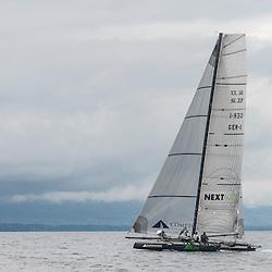 Geneva 24. September 2012.Multihull Catamaran SL33 training in Geneva
