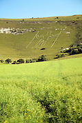 Prehistoric image in chalk hillside, The Long Man of Wilmington, East Sussex, England